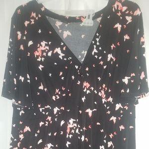 Torrid 4x v neck black butterfly dress